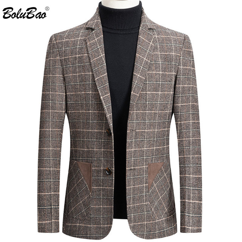 BOLUBAO Brand Men Blazer Personality Wild Men's Suit Jacket High Quality Fashion Plaid Print Slim Fit Warm Blazer Coat Male
