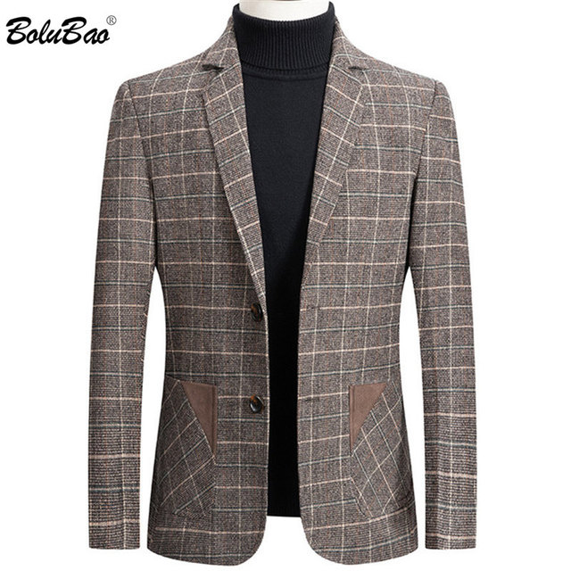 BOLUBAO Brand Men Blazer Personality Wild Men's Suit Jacket High Quality Fashion Plaid Print Slim Fit Warm Blazer Coat Male