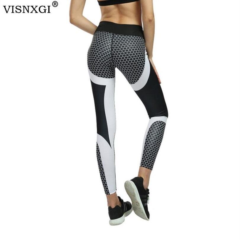 VISNXGI Mesh Pattern Print Leggings Fitness Leggings For Women Sporting Workout Leggins Elastic Slim Breathable Black White Pant