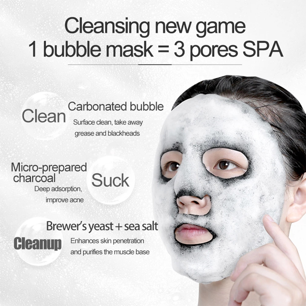 1pc Black Sea Salt Pure Moisturizing Bubble Facial Mask Deep Cleansing Oil Control Skin Rejuvenation Shrink Pore Foam Black Mask-2