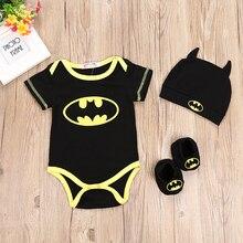 Baby Boy Romper Batman Triangle Climbing Suit + Hat Foot Set Three-piece Childrens for Black