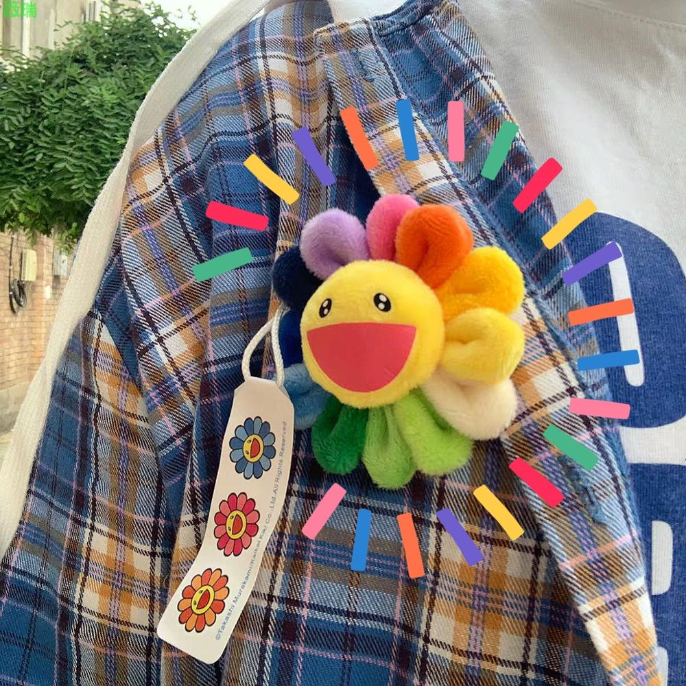 HZ 2019 Korea Lovely Sun Flower Cloth Colorful Pendant Smile Face Brooches for Women Student Daily Party Round Bouquet Brooch(China)