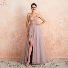 Розовые платья для выпускного вечера с бусинами Длинное Элегантное прозрачное Тюлевое платье трапециевидной формы с разрезом и v-образным Вырезом На Бретельках Вечернее платье для прогулки рядом с вами