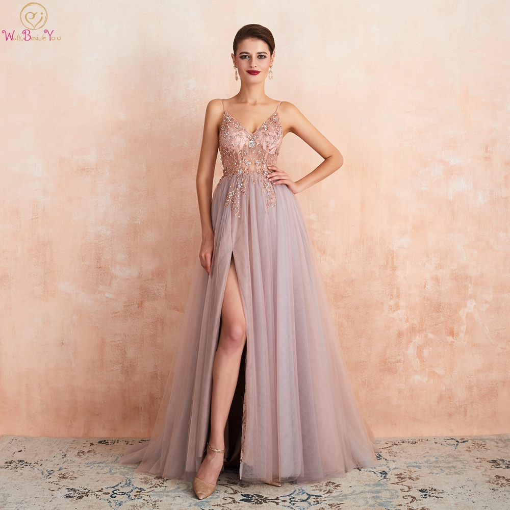 Pink Beaded Prom Dresses 2019 Long Elegant See Through A Line Split Tulle V Neck Spaghetti Strap Evening Gown Walk Beside You