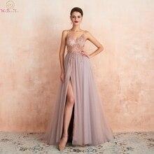 Rosa Perlen Prom Kleider Plus Größe 2020 Lange Elegante Sehen Durch EINE Linie Split Tüll V ausschnitt Spaghetti Strap Abendkleid kleid