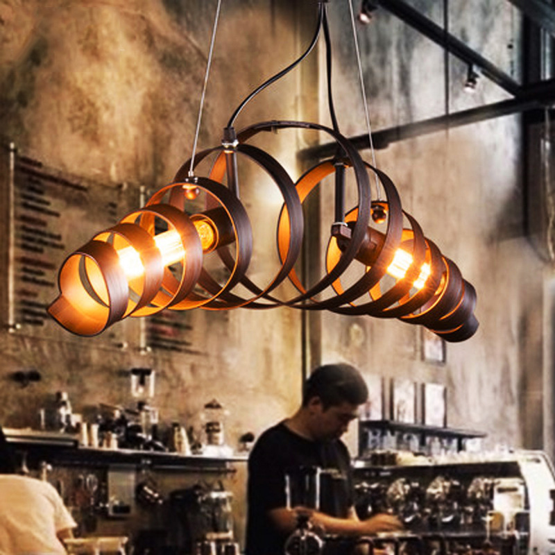 Industrial Decoration Vintage LOFT <font><b>Pendant</b></font> Lamp for Restaurant <font><b>Bar</b></font> Spiral Metal Ceiling Hanging <font><b>Light</b></font> Indoor Home E27 LED Bulb image