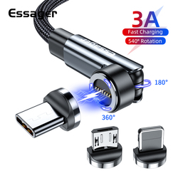 Essager 540 Rotate Magnetic Cable 3A Fast Charging Micro Type C Data Wire Cord For iPhone Samsung Magnet Charge USBC Phone Cable