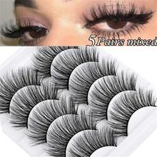 Pestañas postizas 5D de visón Natural, 5 pares, extensiones de pestañas suaves, maquillaje al por mayor