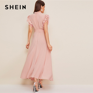 Image 5 - SHEIN Layered Ruffle Detail Belted Fit And Flare Dress 2019 Stand Collar Sleeveless Black Solid Women Spring Autumn Dresses