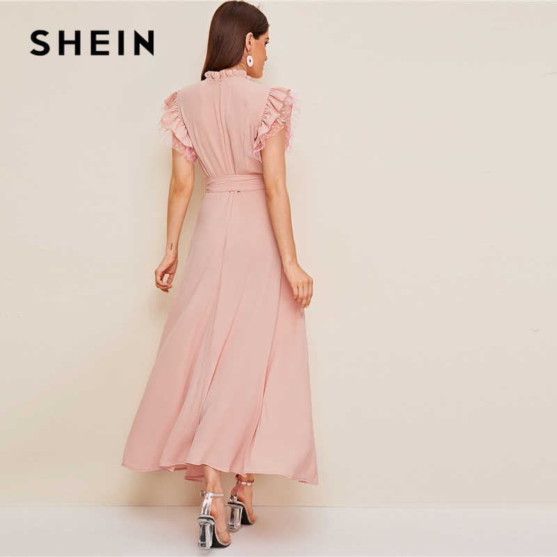 SHEIN Layered Ruffle Detail Belted Fit And Flare Dress 2019 Stand Collar Sleeveless Black Solid Women Spring Autumn Dresses