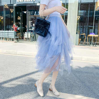 2019 Fashion Elastic High Waist Mesh Tutu Maxi Pleated Long Midi Saias Jupe Women's Skirt Tulle Skirts Womens Faldas Mujer Moda 4