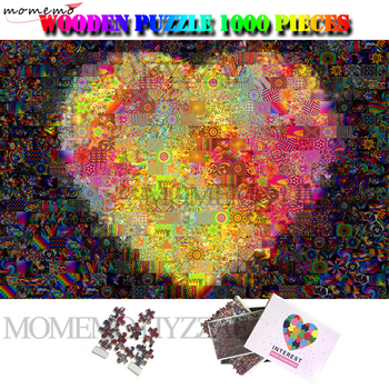 MOMEMO Love Heart Pattern Wooden Jigsaw Puzzles 1000 Pieces Creative Customized Puzzle Mosaic Art Adults Kids Wood Puzzles Toys