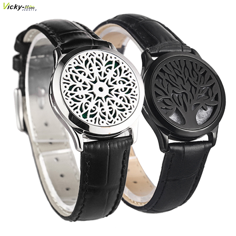 Black Genuine Leather Man Woman 30mm Aroma Locket Bracelet Stainless Steel Bangle Essential Oils Aromatherapy Locket Bracelet