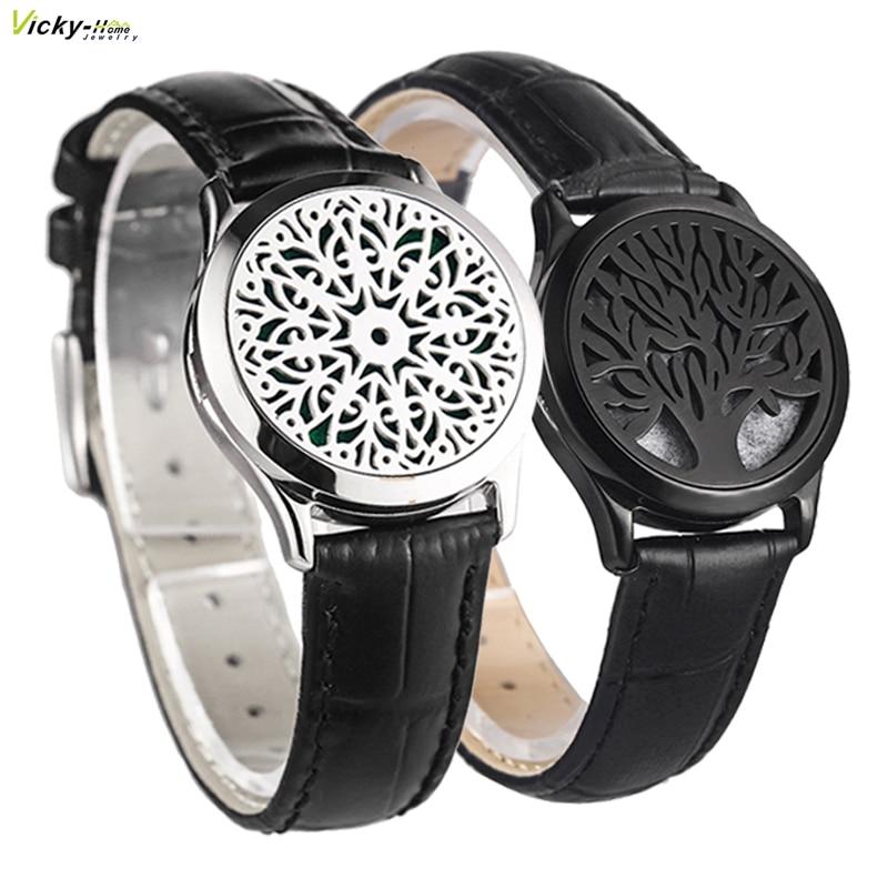 Black Genuine Leather Man Woman 30mm Aroma Locket Bracelet Stainless Steel Bangle Essential Oils Aromatherapy Locket Bracelet