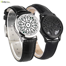 Couro genuíno preto homem mulher 30mm aroma medalhão pulseira de aço inoxidável pulseira óleos essenciais aromaterapia medalhão pulseira