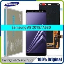100% الأصلي AMOLED 5.6 عرض شاشات LCD لسامسونج غالاكسي A8 2018 LCD A530 LCD مجموعة رقمنة اللمس سطوع تعديل