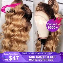 KRN #4/27 Ombre бразильские парики из натуральных волос 13x6 на сетке спереди, с волнистыми волосами, предварительно выщипанные женские парики 180