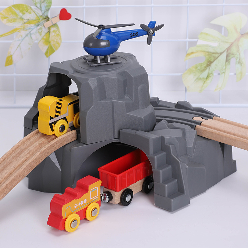 Children Wood Train Product Wooden Eye Line Model Tunnel Cave Double Layer Toy Rich Scene Accessories