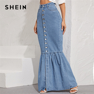 Image 3 - SHEIN Blue Button Front Fishtail Hem Denim Maxi Skirt Women Autumn Pocket High Waist Party Casual Slim Fitted Mermaid Skirts