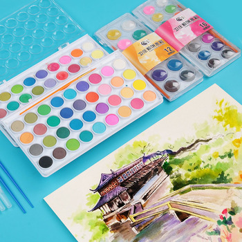 12/16/28/36 Colors Cute Art Portable Solid Pigment Watercolor Painting Set With Paint Brush For Kids Gift Supplies Stationery