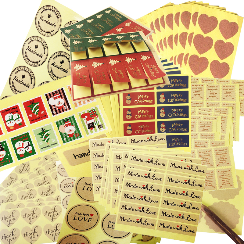 100 Pcs/lot Diffrent Style Scrapbooking Sealing Stickers For The Diary Handmade With Love Funny DIY Work Gift Seal Label