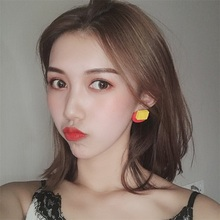 Color red yellow blue Korean ear nail vintage hook rosewood block geometric stitching personality exquisite