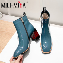 Ankle-Boots Street-Shoes Thick-Heels Handmade Zipper Plus-Size Fashion Women MILI-MIYA