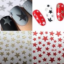 1 лист, 3D слайдер для ногтей, наклейки со звездами, блестящее украшение, переводная наклейка, сделай сам, цветные наклейки для ногтей, тату, маникюра