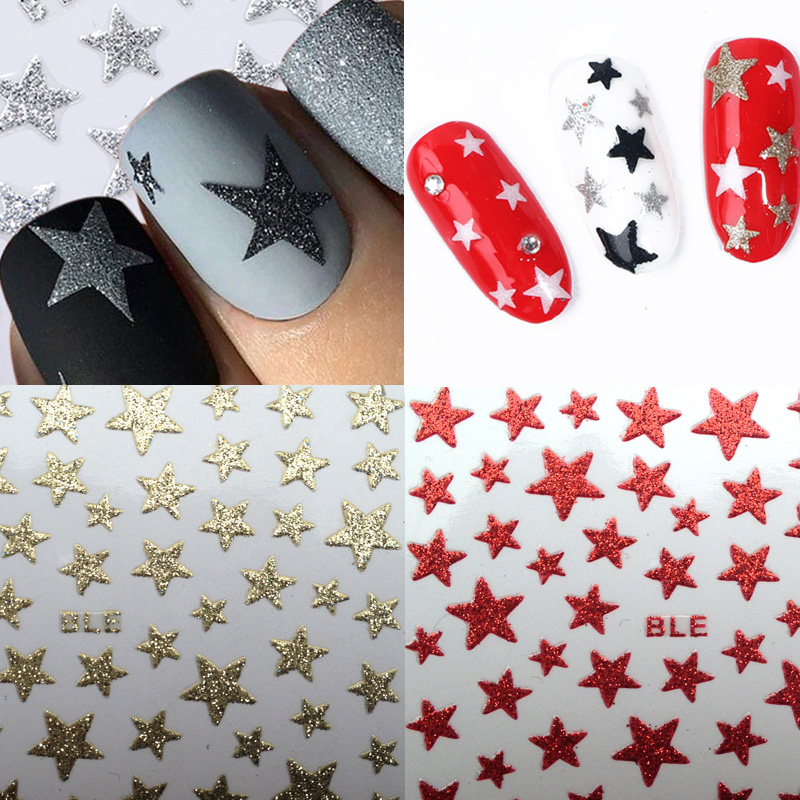 1Sheet 3D Nail Slider Stars Stickers Glitter Shiny Decoration Decal DIY Transfer Adhesive Colorful Nail Art Tips Tattoo Manicure