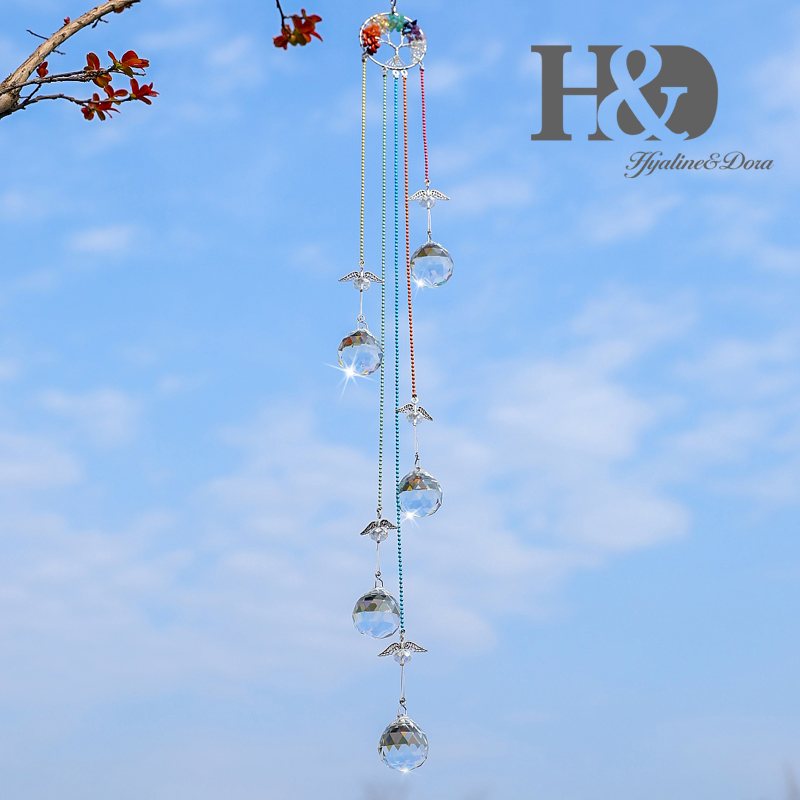 H&D Healing Stone Tree Of Life Suncatcher Crystal Prism Ball Angel Pendants Rainbow Maker Hanging Home Window Wedding Decoration