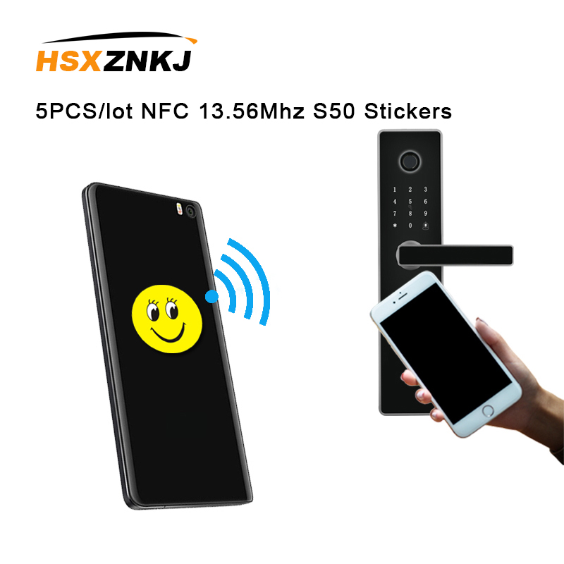 5PCS/lot NFC 13.56Mhz S50 Writable IC UID Anti Metal Interference Cartoon Tags Stickers Proximity Card Label For RFID NFC Copier