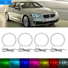 цена на Headlight Multi-color RGB LED Angel Eyes Halo Ring Eye DRL RF Remote Control for BMW E36 E38 E39 E46 projector 4x131 Accessories