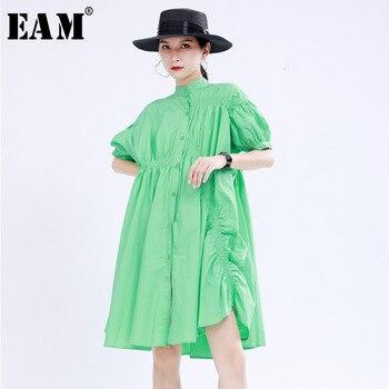 [EAM] Women Green Pleated Irregular Big Size Dress New Stand Collar Short Sleeve Loose Fit Fashion Tide Spring Summer 2020 1U173