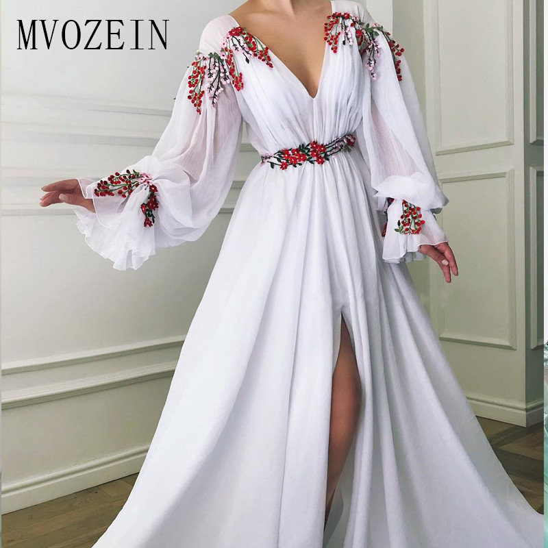 2020 Hot White Evening Dresses Chiffon A-Line Deep V-Neck Sleeves High Split Long Evening Dress Formal Gown Prom Party Dress