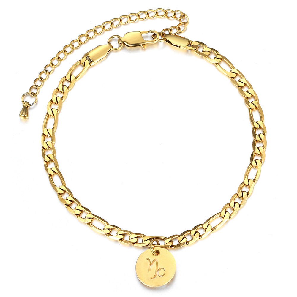 8inch+3inch Extender Chain 12 Zodiac Constellations Charm Pendant Anklet Figaro link Chain Foot Fashion Anklets for Women DA42