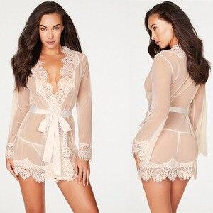 Sexy Lingerie Women Sexy Blouse Robe + G String Porno Sleepwear Lace Underwear Sex Babydoll Erotic Transparent Dress DJ016