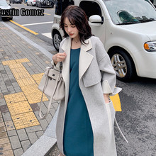 New Arrival Loose Oversize Temperament Wool Coat Cashmere Bat Sleeve Womens Winter With Belt Women Elegant Long Cardigan