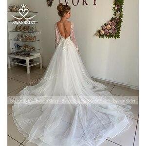 Image 5 - Vintage Long Sleeve Wedding Dress 2020 Appliques Lace A Line Princess Bridal Gown Tulle Illusion Swanskirt I204 Vestido de Noiva
