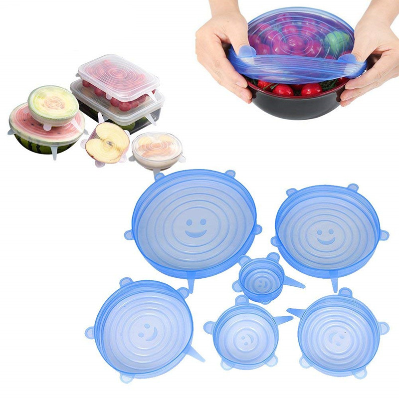 6 Pack Smile Silicone Fresh-keeping Lids Plastic Wrap Bowl Cover Fresh Cover Stretch Cover Elastic Seal Cover