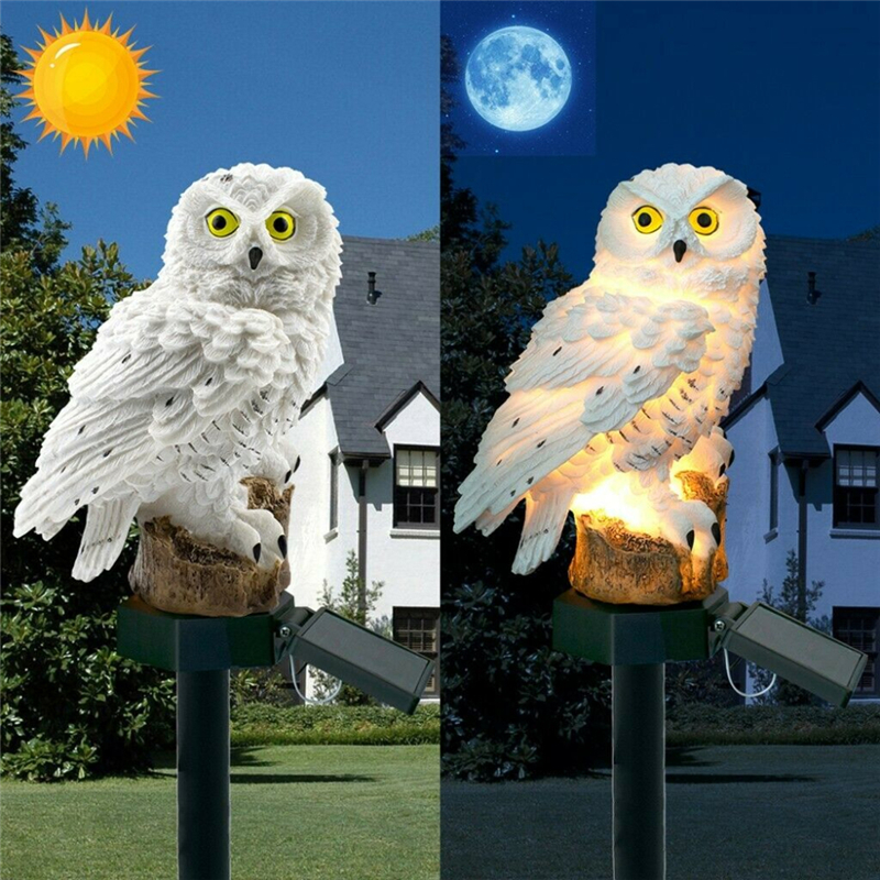 Sculptures-Lamp Bird Garden-Decoration Yard Resin For Waterproof Outdoor Owl-Shape