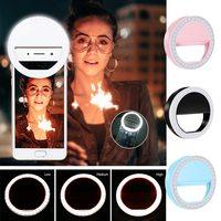 Carga USB LED Selfie anillo luz para Iphone iluminación suplementaria noche oscuridad Selfie mejora para la luz de relleno del teléfono