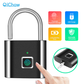 Golden Security Door Lock Smart Keyless USB Rechargeable Fingerprint Padlock For Locker Sports School Zinc alloy Metal  App Lock
