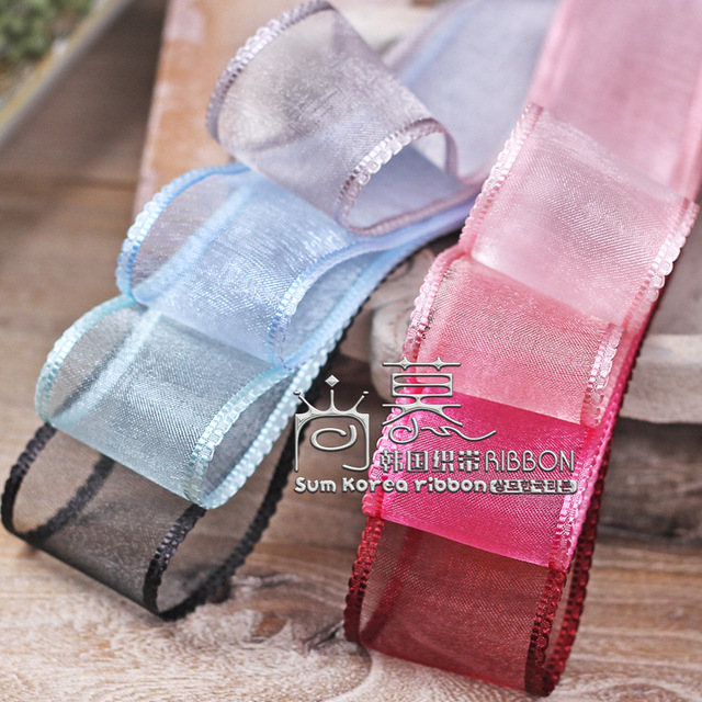 100yards 16/25/38mm waving satin edge organza sheer ribbon for wedding party decoration bouquet flower packing bow