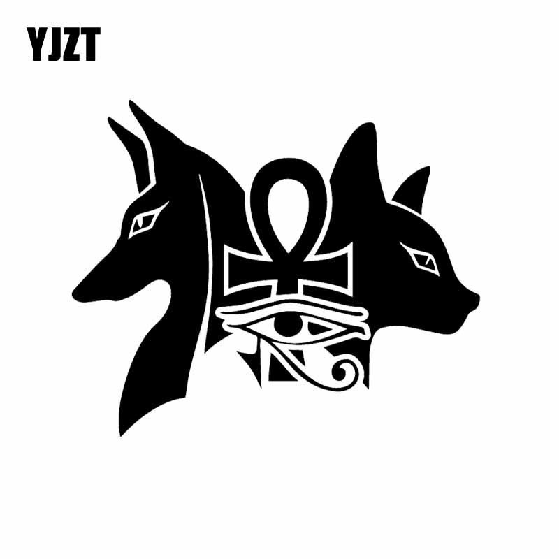 YJZT 15.9X13CM Vinyl Decal Ancient Egyptian Dogs Bastet Eye Of Horus Car Sticker Black/Silver C24-1469