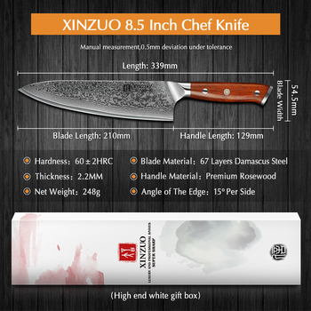 8.5 inch Chef Knives High Carbon VG10 Japanese 67 layer Damascus Kitchen Knife Gyuto Knife Rosewood Handle 2