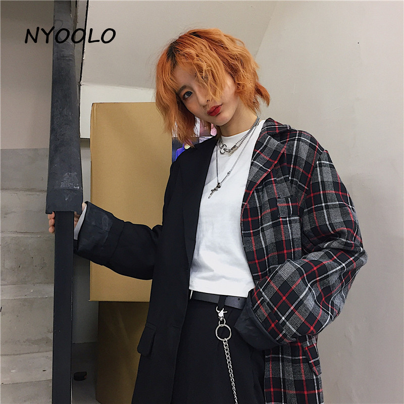 NYOOLO Autumn Winter Vintage Plaid Blazer Patchwork Outerwear Single Breasted Long Sleeve Blazer Women/men Clothing Workwear