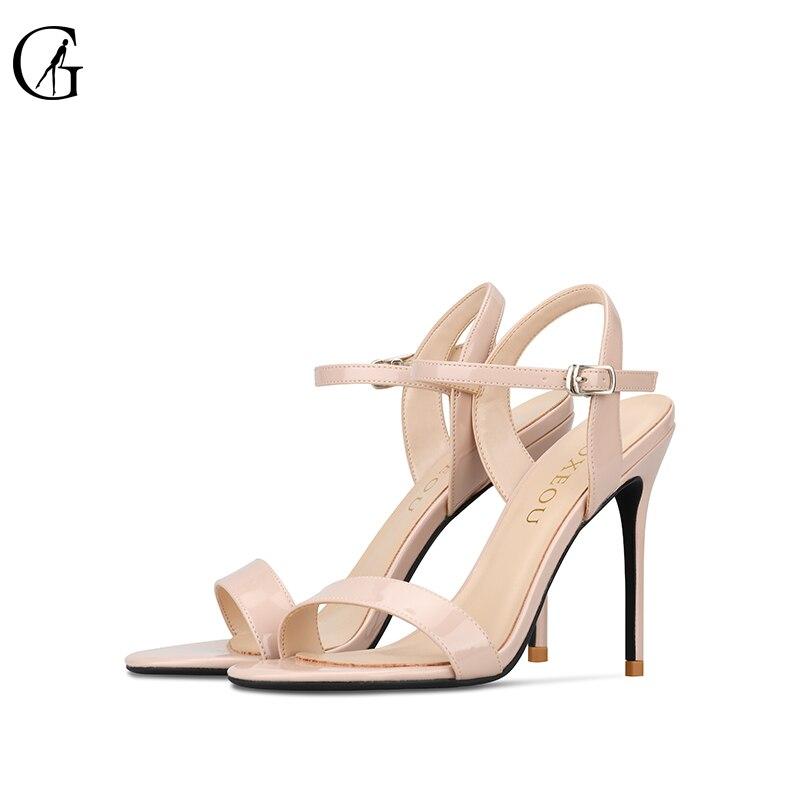 GOXEOU 2019 ผู้หญิงรองเท้าแตะรองเท้าส้นสูงรอบ Toe สิทธิบัตรหนังแฟชั่น Casual Handmade รองเท้าส้นสูงขนาด 34 46 จัดส่งฟรี-ใน รองเท้าส้นสูง จาก รองเท้า บน AliExpress - 11.11_สิบเอ็ด สิบเอ็ดวันคนโสด 1
