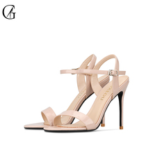 Купить с кэшбэком GOXEOU 2019 Women Sandals Thin Heels Round Toe Patent Leather Fashion Casual Handmade Super High Heel Size 34-46 Free Shipping