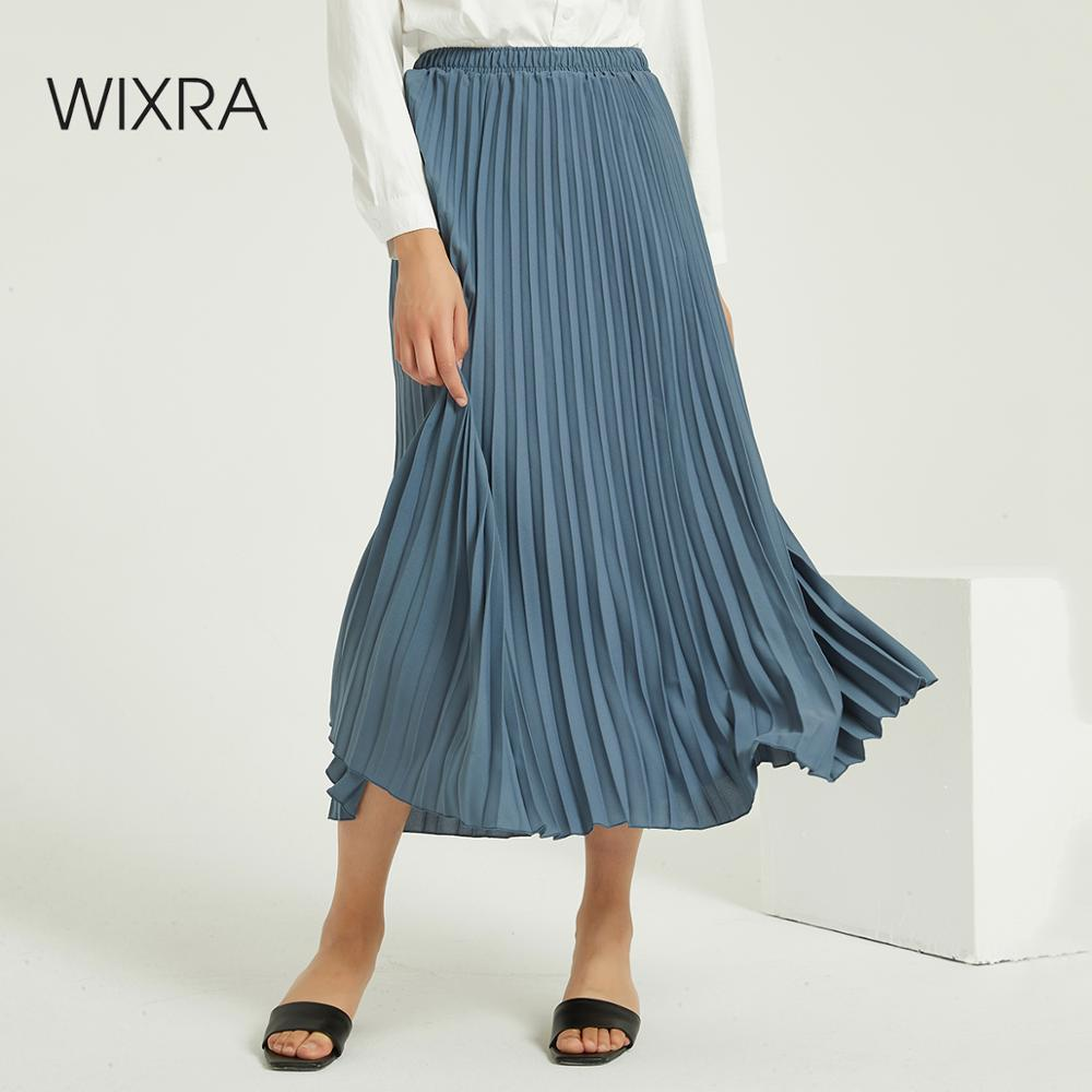 Wixra Solid Pleated Skirts Elegant High Elastic Waist Vintage Party Long Skirt Ladies Bottom Autumn Winter Spring
