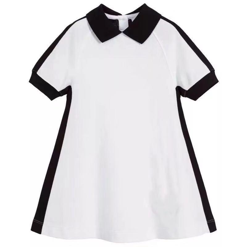 2020 New Letter Printed Girls Dress Black collar White Girls Clothing Boutique brand Princess party Girls Dress 3Y 4Y 6Y 10Y 12Y